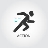 Icon of running men, action, sport, move concept. Vector illustration drawn in flat style. Black and green shape pictograph for your design needs. Simple label Royalty Free Stock Photos