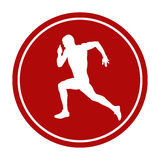 Icon running sprint male. Athlete runner white silhouette red circle Royalty Free Stock Photography