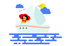 Icon with sailboat Royalty Free Stock Image