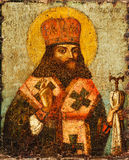 Icon with saint. Antique Russian orthodox icon with saint painted on wooden board Royalty Free Stock Image