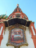 The Icon on the Saint Basil's Cathedral in Red square in Moscow. royalty free stock photos