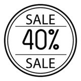 Icon sales with percent on a white background. 40. Icon sales with percent on a white background stock illustration