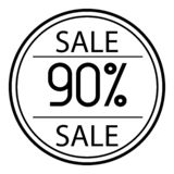 Icon sales with percent on a white background. 90. Icon sales with percent on a white background stock illustration