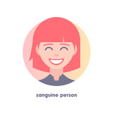 Icon of sanguine person. Type of temperaments.  Flat icon of woman's face. Modern vector illustration of girl. Image is out of circle range. The red-haired Stock Photos