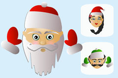 The icon of Santa Claus head with Ms. and elf on white background. Santa Claus  on a white background a few no Stock Image