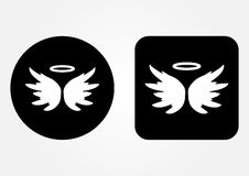 Icon schematic image of an angel. Nimbus, Wings.. Icon schematic image of an angel. Nimbus, Wings, backdrop. Set of round and square web button. White on a Stock Images