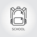 Icon school bag drawn in outline style on gray background. Simple black line logo for websites, mobile apps and other design needs. Vector contour pictograph Stock Image