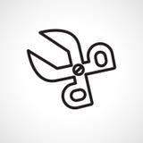 Icon scissors. Contour scissors icon on a white background Stock Images