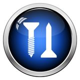 Icon Of Screw And Nail. Glossy Button Design. Vector Illustration stock illustration