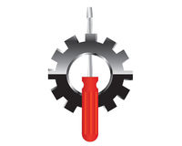 Icon screwdriver and Gear - illustration Stock Image
