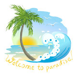 Icon with the sea and palm tree Stock Photo