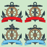 Icon on the sea theme. Lifebuoy, Anchor, Steering wheel, Wriggling ribbon for inscription. Stock Photo
