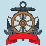 Icon on the sea theme. Lifebuoy, Anchor, Steering wheel, Wriggling ribbon for inscription. Royalty Free Stock Image
