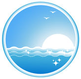 Icon with sea wave, sun and seagull Stock Photo