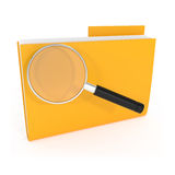 Icon Search Folder with Magnifying Glass. 3d illustration Royalty Free Stock Photography