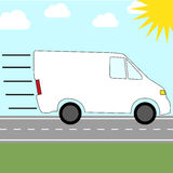 Icon for sending by courier service - fast riding van Stock Image