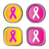 Icon series. Breast cancer awareness ribbon icon series Royalty Free Stock Images