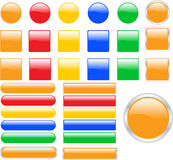 Icon Series. Shiny buttons.Five different colors, five different shapes Stock Image