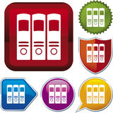 Icon series: file folder. Vector icon illustration of file folders over diverse buttons Stock Photo