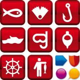 Icon series: fishing. Vector illustration of icon set: fishing, and buttons Stock Photo