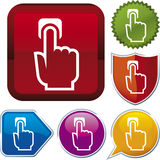 Icon series: push hand. Vector icon illustration of push hand over diverse buttons Royalty Free Stock Photos