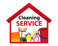 Icon services cleaning. A clean house. Vector Royalty Free Stock Photo