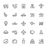 Icon set – airplane and transport vector illustration royalty free illustration