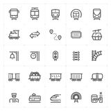 Icon set – train and transport vector illustration Royalty Free Stock Photos