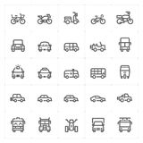 Icon set – vehicle and transport vector illustration Stock Photos