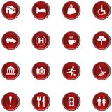 Icon Set. 16 different red shiny buttons/icons for your application royalty free illustration