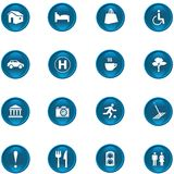 Icon Set. 16 different blue shiny buttons/icons for your application Royalty Free Illustration