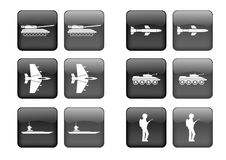 Icon set. Collection of images for black buttons or icons, including selected and nonselected (by mouse for example) versions Royalty Free Stock Image