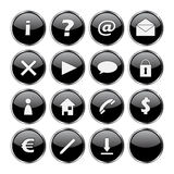 Icon set of 16 black buttons. (exclamation, question, at, mail, delete, arrow, cloud, lock, man, home, telephone, dollar, euro, pen, download and empty stock illustration