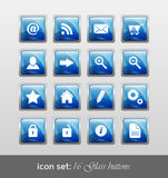 Icon set 16 glass buttons Royalty Free Stock Image