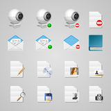 Icon set. Office accessories and file types Royalty Free Stock Photos