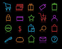 Icon set. Vector illustration of neon original e-commerce Icon Set, good for web, software etc Royalty Free Stock Photo