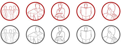 Icon set. Office people, teamwork Royalty Free Stock Photography