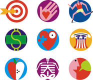 Icon Set 2. Set of icons illustrating various ideas in health, finance and government Royalty Free Stock Images