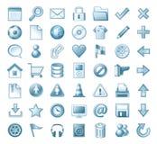 Icon set. Illustration of blue icon set isolated on white Stock Images