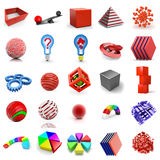 Icon  set. Abstract 3D icon elements isolated Stock Photography