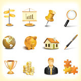 Icon set. Gold icon set of business object Stock Photo