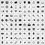 Icon set. Sett of 100 different icons Stock Images