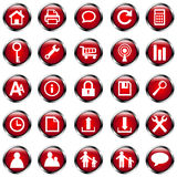 Icon set 4 in red Royalty Free Stock Photos
