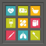 Icon set. Abstract creative concept vector set of healthcare and medical icons for web and mobile app  on background, art illustration template design, business Royalty Free Stock Images
