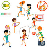 Icon set for active lifestyle, sport, nutrition Royalty Free Stock Image