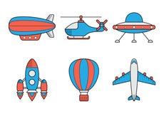 Icon set of aero vehicles. Helicopter plane UFO vector illustration