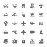Icon set - airplane and airport filled icon vector illustration