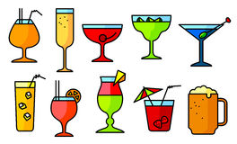 Icon set with alcohol cocktails. Thin simple line style collecti Stock Photo