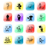 Icon set aliens. Colorful and stylized icon set Royalty Free Stock Photography