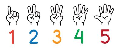 Hands with fingers.Icon set for counting education. Icon set ands and fingers for counting education from 1 to 5. Childrens vector illustration Royalty Free Stock Photo